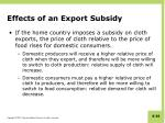 effects of an export subsidy