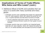 implications of terms of trade effects who gains and who loses cont
