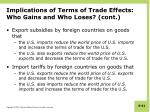 implications of terms of trade effects who gains and who loses cont1