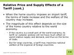 relative price and supply effects of a tariff cont