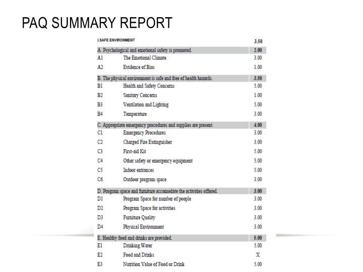 PAQ Summary Report