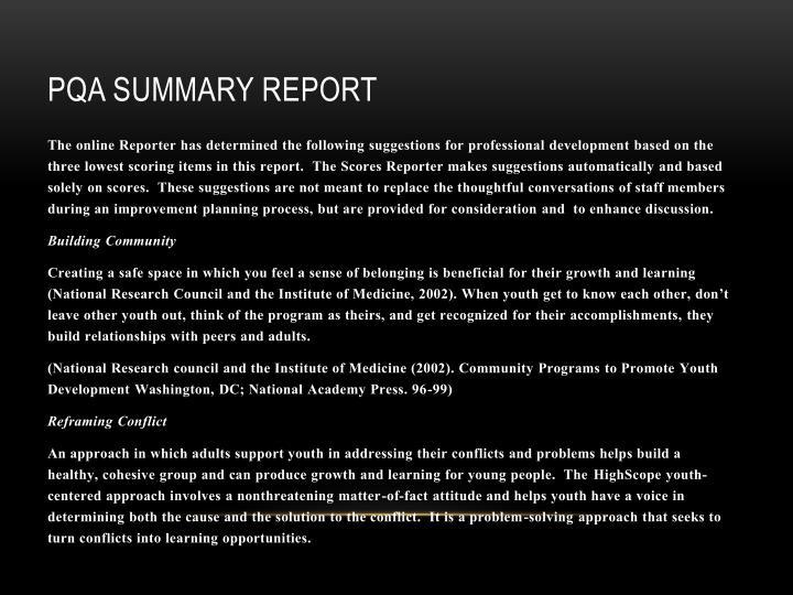 PQA Summary Report