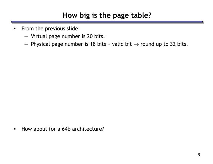 How big is the page table?