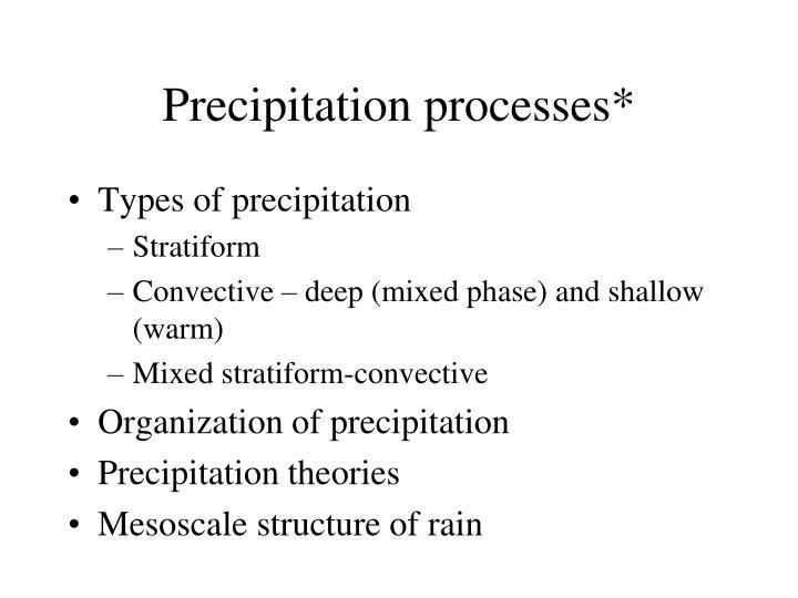 precipitation processes n.