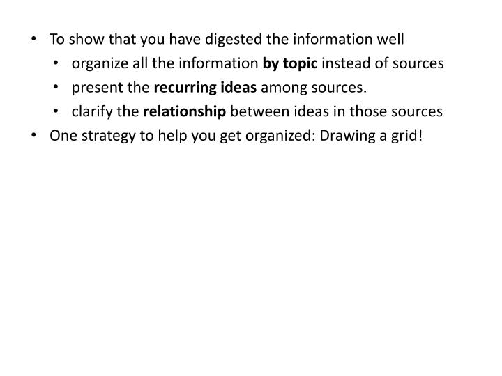 To show that you have digested the information well