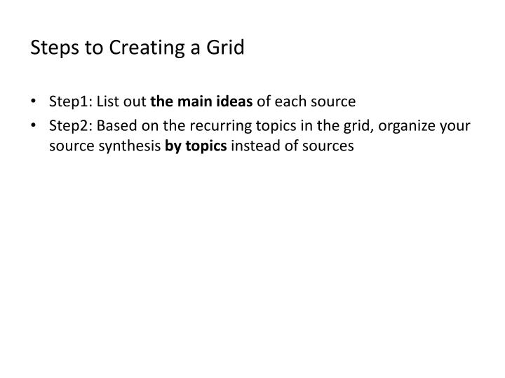 Steps to Creating a Grid