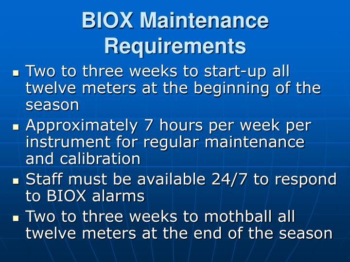 BIOX Maintenance Requirements