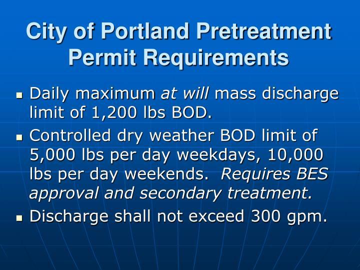 City of Portland Pretreatment Permit Requirements