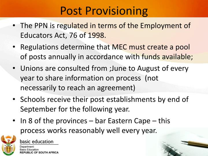 Post provisioning