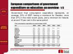 european comparisons of government expenditure on education an overview 1 3