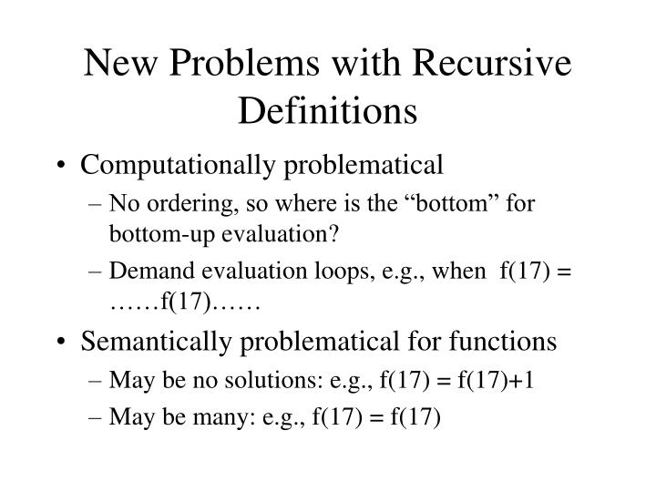 New Problems with Recursive Definitions