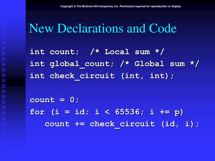 New Declarations and Code