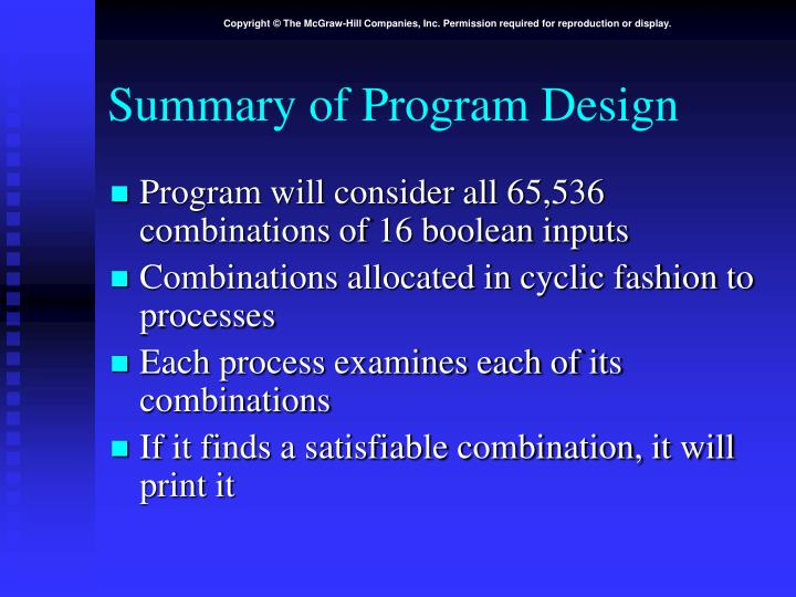 Summary of Program Design