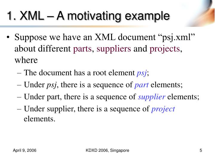 1. XML – A motivating example