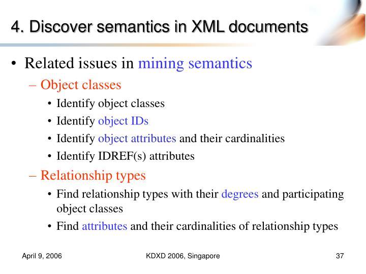 4. Discover semantics in XML documents