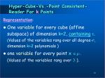 hyper cube vs point consistent reader for k points