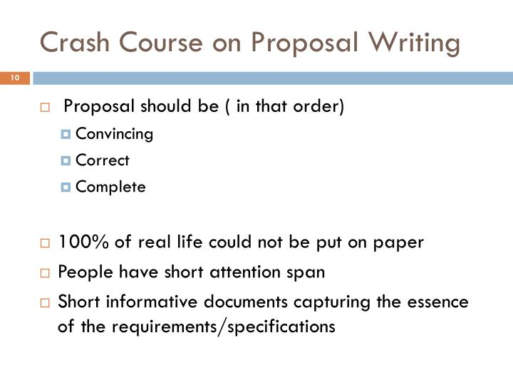 Crash Course on Proposal Writing