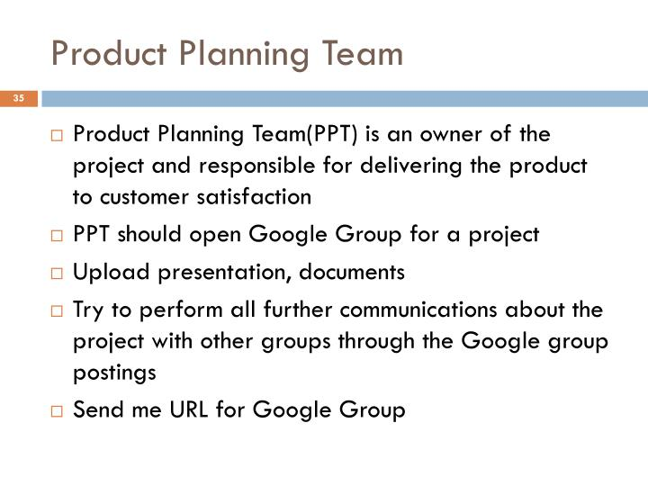 Product Planning Team