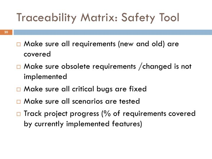 Traceability Matrix: Safety Tool