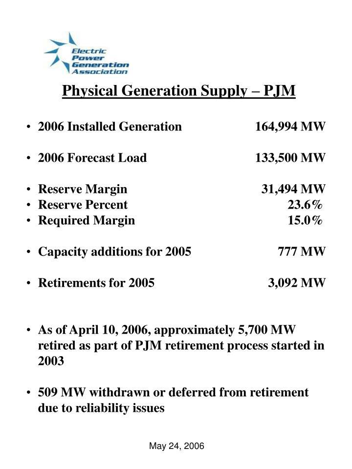 Physical Generation Supply – PJM