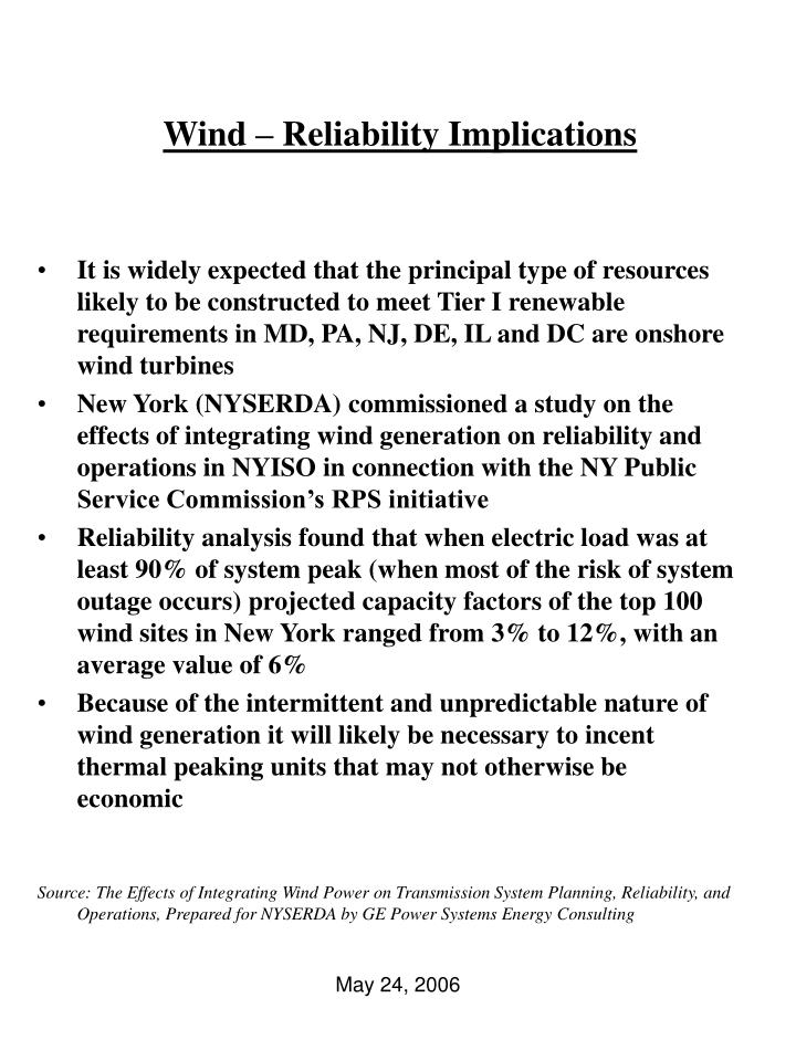 Wind – Reliability Implications