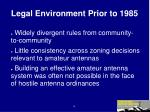 legal environment prior to 1985