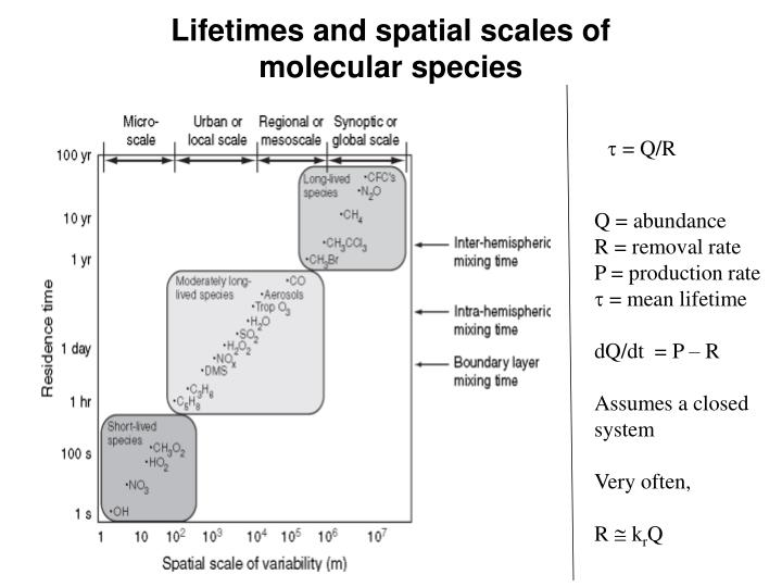 Lifetimes and spatial scales of