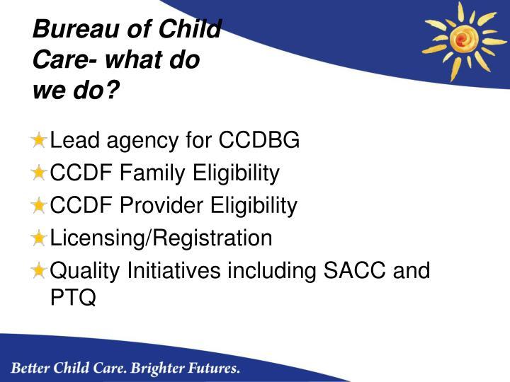 Bureau of Child Care- what do we do?