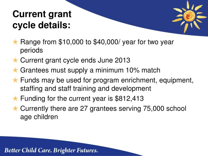 Current grant cycle details: