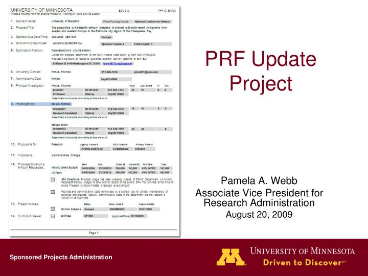 Prf update project