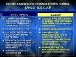contratacion de consultores norma banco e g c a p