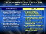 contratacion de consultores norma banco e g c a p1