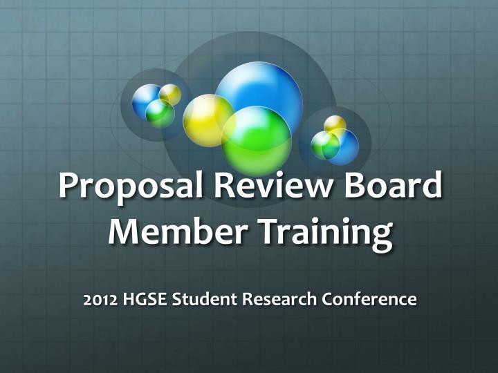 proposal review board member training n.