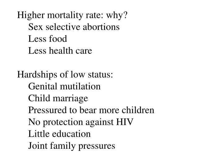 Higher mortality rate: why?