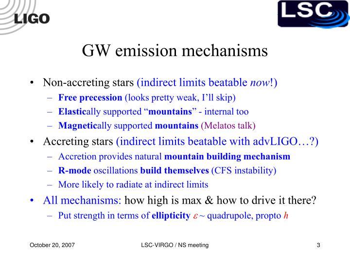 Gw emission mechanisms
