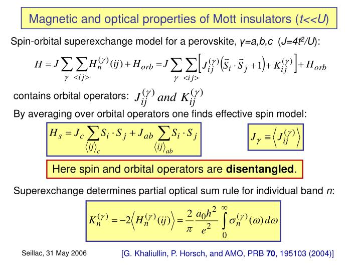 Magnetic and optical properties of Mott