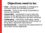 objectives need to be