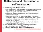 reflection and discussion self evaluation