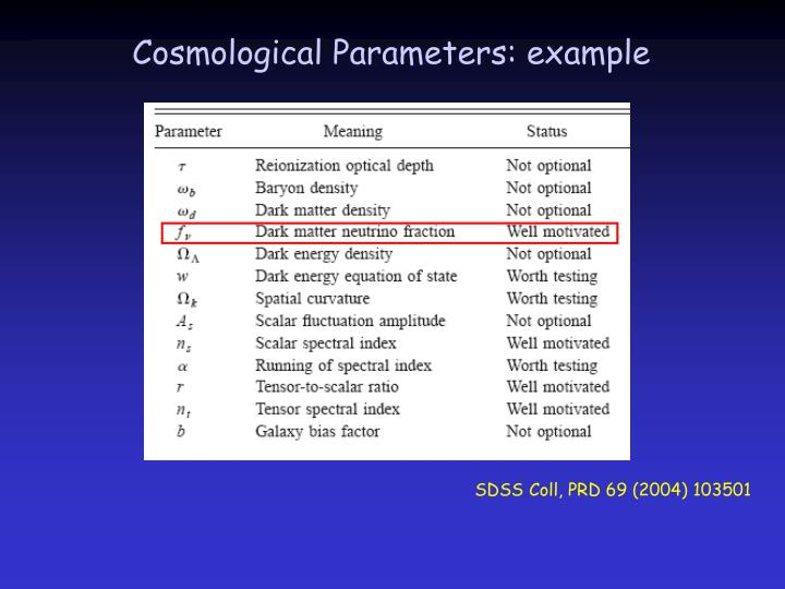 Cosmological Parameters: example