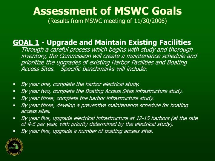 Assessment of MSWC Goals