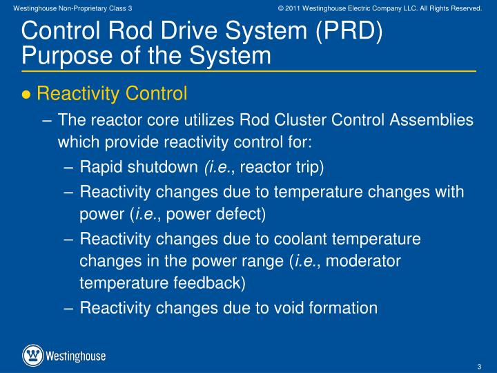 Control rod drive system prd purpose of the system