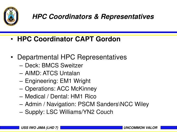 HPC Coordinators & Representatives