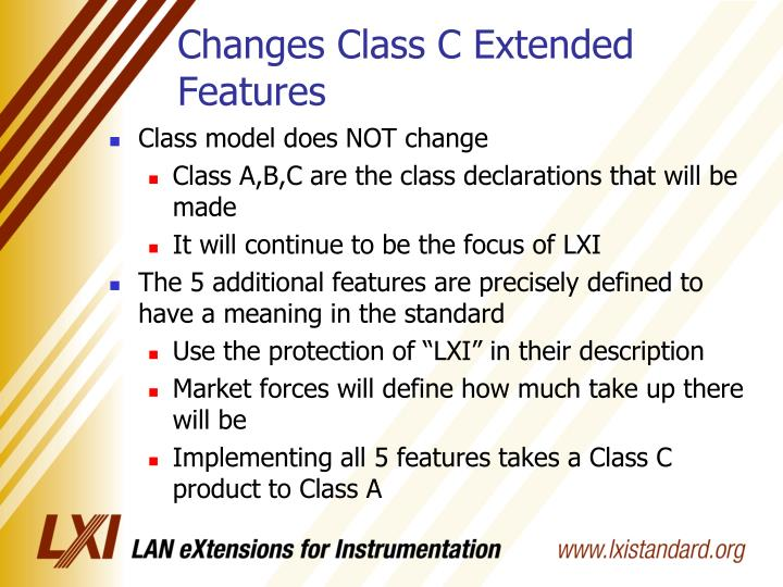 Changes Class C Extended Features