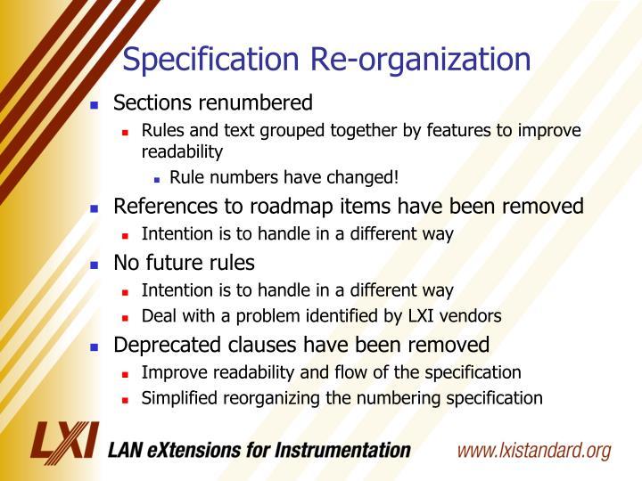 Specification Re-organization