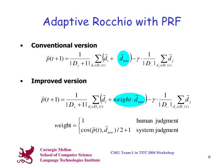 Adaptive Rocchio with PRF