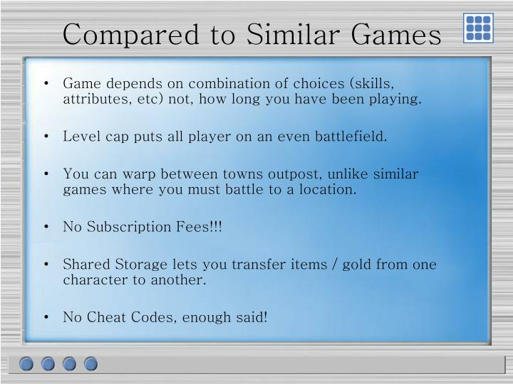 Compared to Similar Games