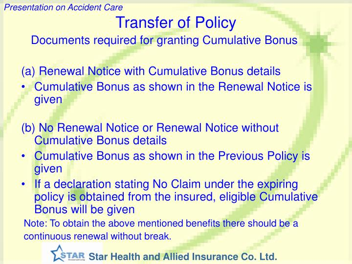 Transfer of Policy