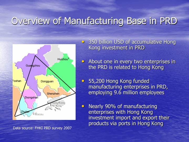 Overview of manufacturing base in prd