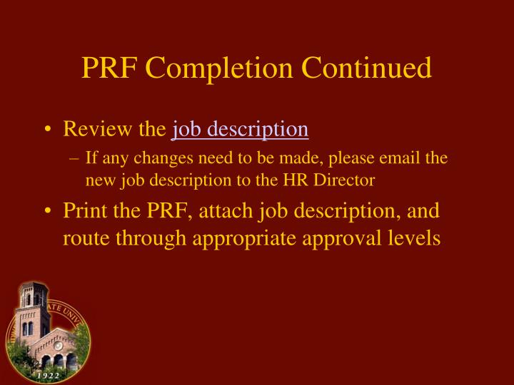 PRF Completion Continued
