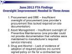 june 2012 fta findings oversight improvement needed in three areas